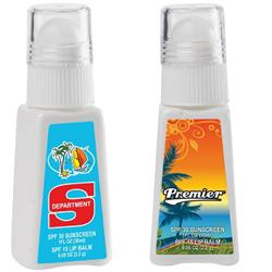 SPF 30 Suntan Lotion & Lip Balm Combo with a full color label