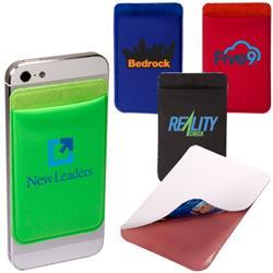 Lycra Mobile Phone Wallet and Pocket with custom imprint.  Tradeshow giveaway.