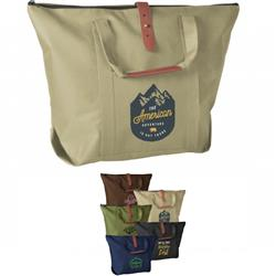 Mallard Poly Canvas Tote Bag Zippered with Custom Printed Logo