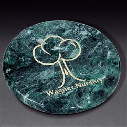 Round Marble Coaster with Custom Imprint.  Marble Paperweight.