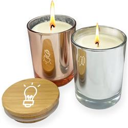 Metallic Glass Candles with Bamboo Lid and Custom Imprint