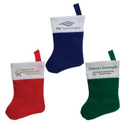 Mini Felt Holiday Stocking Ornament Customized with your logo by Adco Marketing