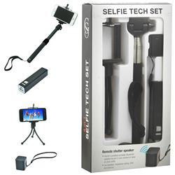Mobile Gift Set with a selfie stick, power bank, mini me bluetooth speaker and smart phone stand