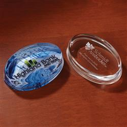 Oval Crystal Paperweight Award