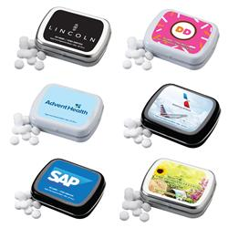 Custom Mint Tin with Small Rectangular Hinged Case and Full Color Imprint