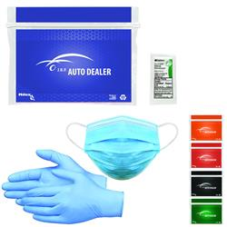 PPE Safety Kits with Mask, Gloves and Sanitizer in a custom printed package
