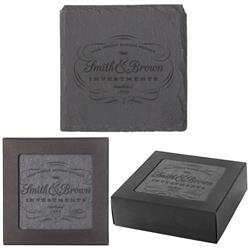 Custom Slate Coaster Set with Logo