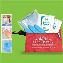 Protective Kit with Face Mask, Nitrile Glove and Antiseptic in a zippered kit