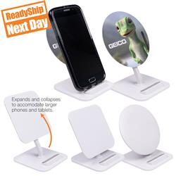 Qi Wireless Charger and Phone Stand with Full Color Imprint or 1-color