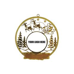 Santa with Reindeer Brass Ornament