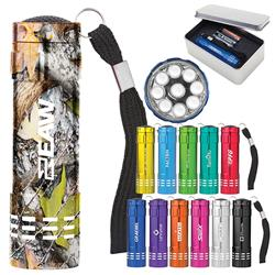 Renegade Aluminum Promotional Flashlight with 9 LED Bulbs Laser Engraved