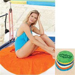 Round Custom Printed Large Beach Towels - Promotional Beach Towel