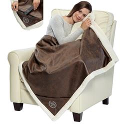 Sherpa Lined Rustic Ranch Throw Blanket with Pocket Embroidered