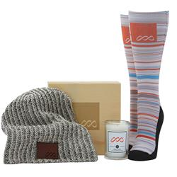 Snowed In Custom Gift Set with Designer Beanie, Soy Scented Candle and Custom Socks