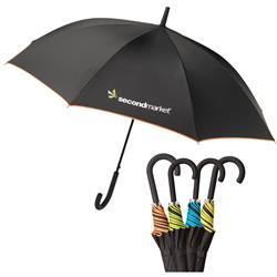 The SOHO Fashion Umbrella Custom Printed in black with colored trim.  Auto Open