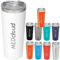 Thor Copper Vacuum Insulated Tumbler 22oz customized with your logo - straw available