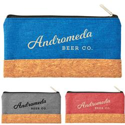 Heather Pouch with Cork Combo - great tech organizer pouch, travel pouch or pen and pencil case