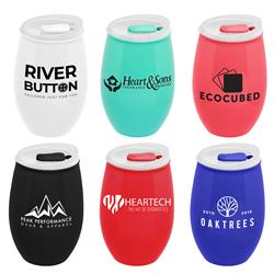 16 0z stemless plastic wine cup with custom logo in assorted colors with lid.