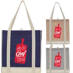 Two-Tone Non-Woven Little Grocery Tote Bag Custom Printed