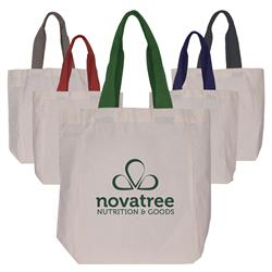 100% Cotton tote bag in natural with colored handles and custom logo.