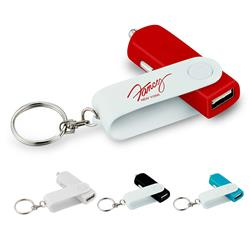 USB Swivel Car Charger and Keychain with a custom imprint