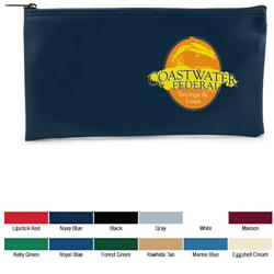"Horizontal Bank Bag in Vinyl, 11"" x 16"" with custom imprint"