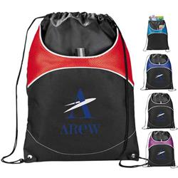 Vista Cinch Custom Drawstring Backpacks with front pocket