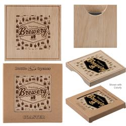 Wood Coasters with Bottle Opener