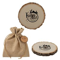 Woodland Wood Log Coasters - Poplar Ccustom Coaster